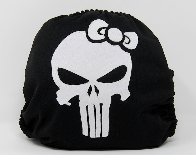 Hello Punisher Cloth Diaper Cover or Pocket Diaper (One Size)