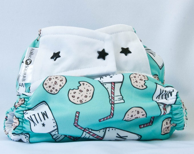 Cloth Diaper : Milk and Cookies Diaper Cover or Pocket Diaper (One Size) Baby Shower Gift