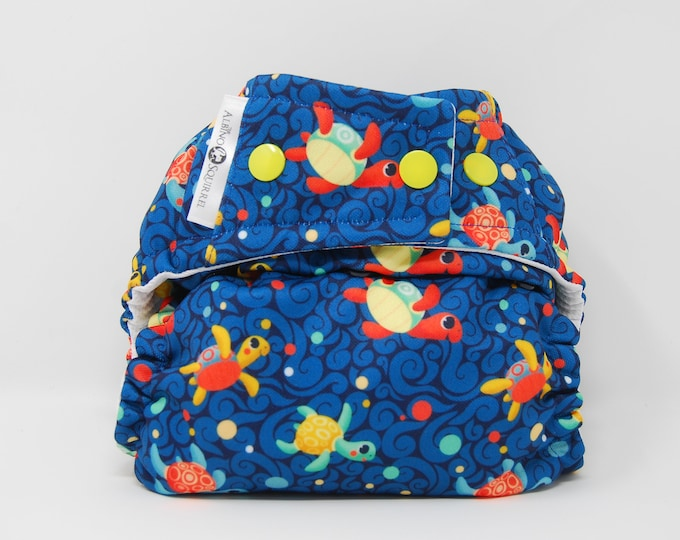 PRE-ORDER: Silly Sea Turtles Cloth Diaper Cover or Pocket Diaper (One Size)