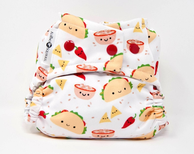 Cloth Diaper : TACOS Print Cover or Pocket Diaper (One Size) Baby Shower Gift, Baby Nursery