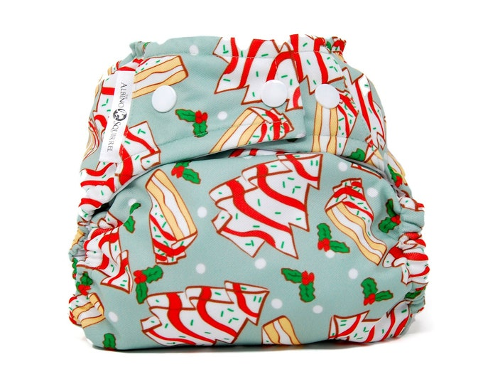 PRE-ORDER: Christmas Cakes Diaper Cover or Pocket Diaper (One Size) Baby Shower Gift