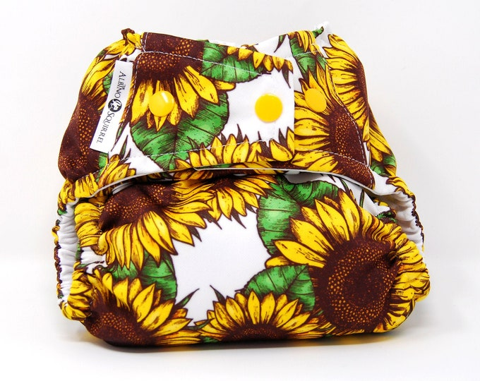 Sunflowers Cloth Diaper Cover or Pocket Diaper (One Size)