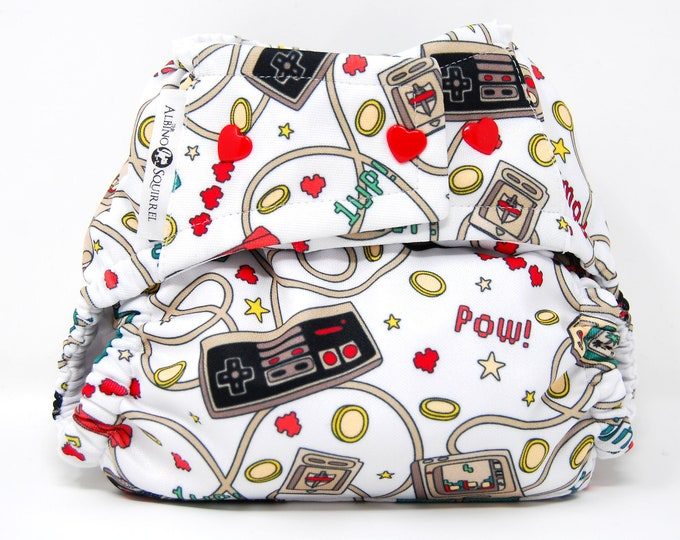 Gamer Baby Video Games Cloth Diaper Cover or Pocket Diaper (One Size)