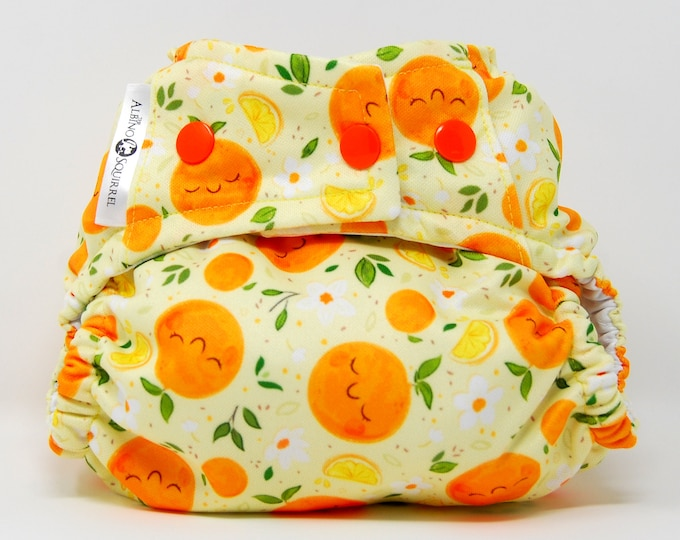 Oranges Print Cover or Pocket Diaper (One Size) Baby Shower Gift, Baby Nursery