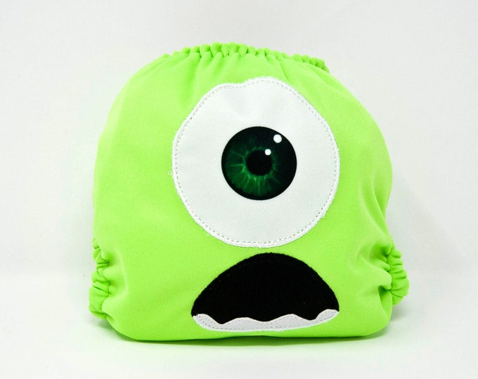 Green Monster Face Cloth Diaper Cover or Pocket Diaper (One Size)