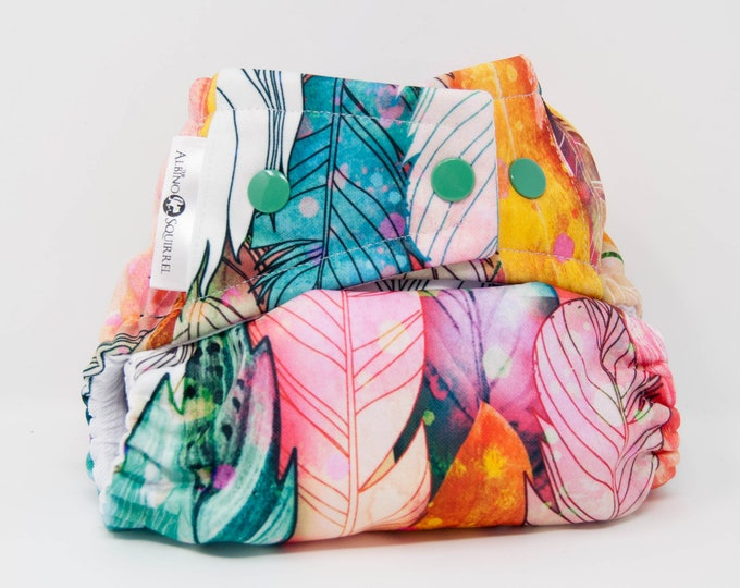 Cloth Diaper : Feathers Diaper Cover or Pocket Diaper (One Size) Baby Shower Gift