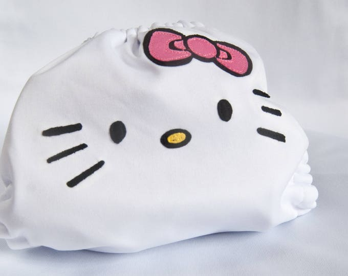 Kitty Face Baby Cloth Diaper Cover or Pocket Diaper (One Size)