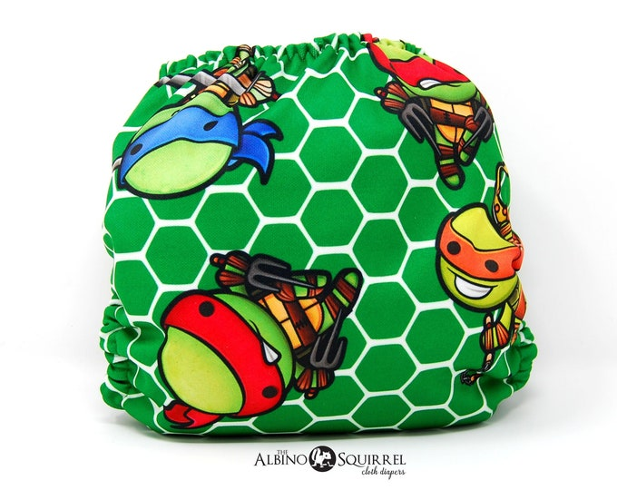 Turtle Ninjas Cloth Diaper Cover or Pocket Diaper (One Size)