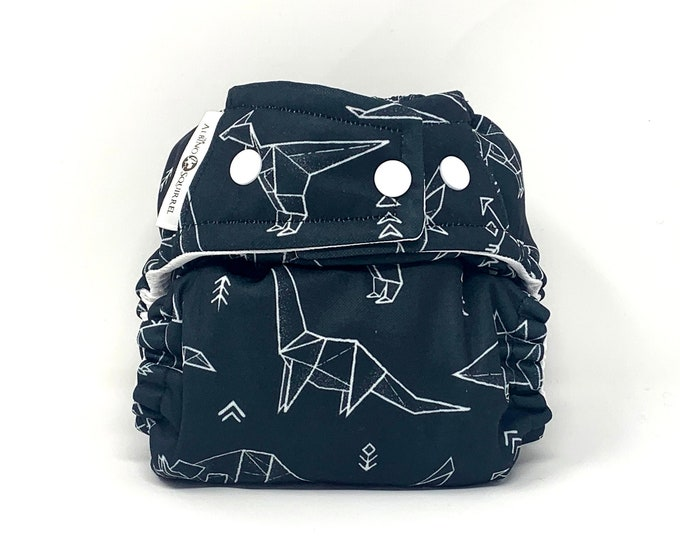 Origami Dinos Cloth Diaper Cover or Pocket Diaper (One Size)