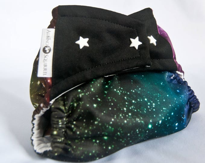 Galaxy, Stars, Space Cloth Diaper Cover or Pocket Diaper (One Size)
