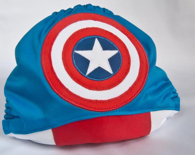 Captain America / Superhero / Baby Cloth Diaper Cover or Pocket Diaper (One Size)