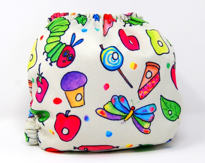 Caterpillar Butterfly Cloth Diaper Cover or Pocket Diaper (One Size) Baby Shower Gift