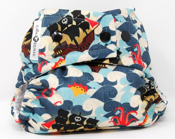 Pirate Ships & Sea Monsters Cloth Diaper Cover or Pocket Diaper (One Size)