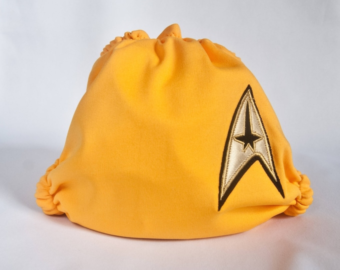 Cloth Diaper / Star Trek Command Gold / Diaper Cover or Pocket Diaper (One Size)