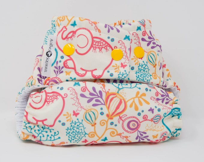 Elephants Cloth Diaper Cover or Pocket Diaper (One Size)