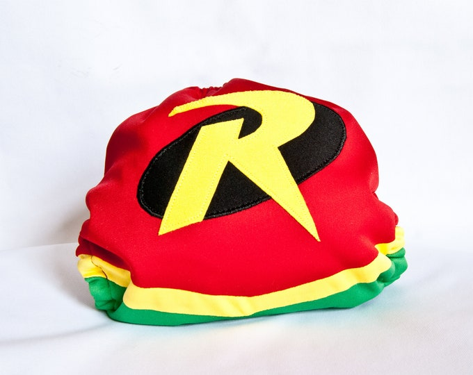 Robin  Superhero Baby Cloth Diaper Cover or Pocket Diaper (One Size)