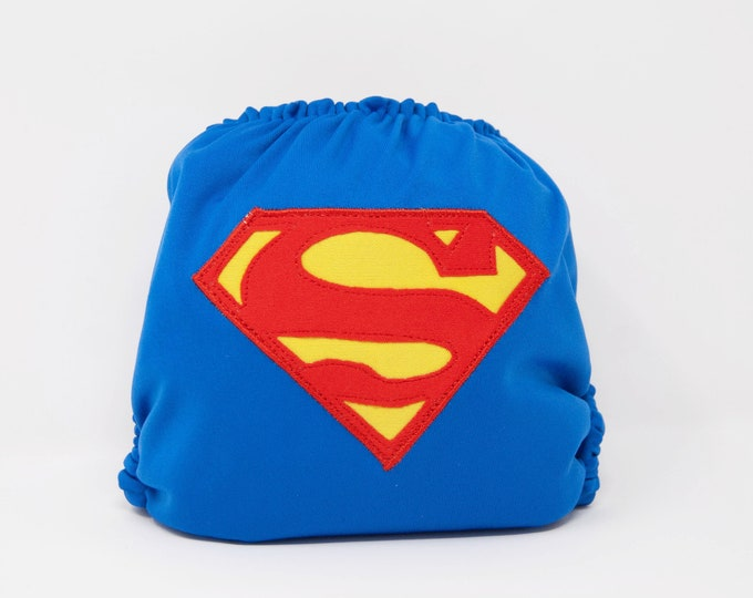 Superman Superhero Cloth Diaper Cover or Pocket Diaper (One Size)