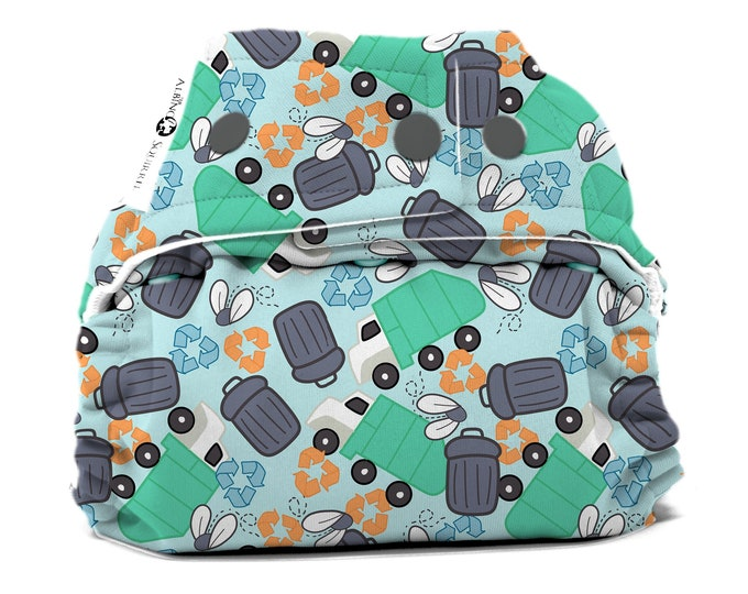 Garbage Day Recycle Diaper Cover or Pocket Diaper (One Size) Baby Shower Gift