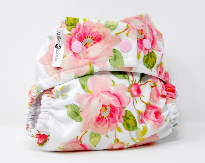 Cloth Diaper : Roses Flower Diaper Cover or Pocket Diaper (One Size)