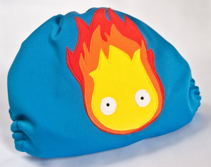 Calcifer Howl's Moving Castle Studio Ghibli Cloth Diaper Cover or Pocket Diaper (One Size)