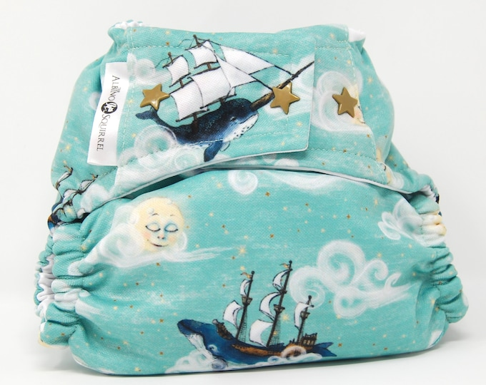Narwhal Ships Diaper Cover or Pocket Diaper (One Size)