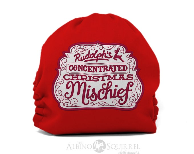 Christmas Cloth Diaper, Rudolph's Concentrated Christmas Mischief