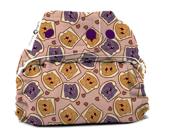 PRE-ORDER : Peanut Butter & Jelly Diaper Cover or Pocket Diaper (One Size) Baby Shower Gift