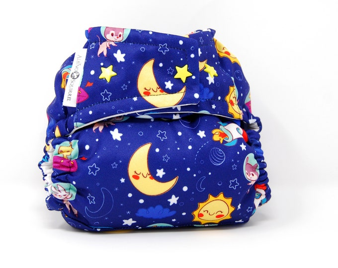 Astronauts Cloth Diaper Cover or Pocket Diaper (One Size) Baby Shower Gift
