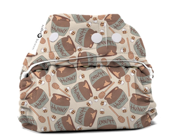 PRE-ORDER : Hunny Bees Diaper Cover or Pocket Diaper (One Size) Baby Shower Gift