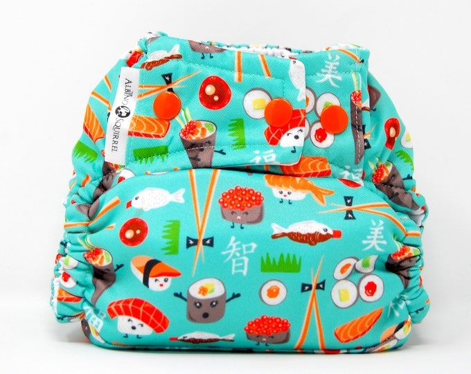 SUSHI Cloth Diaper Cover or Pocket Diaper (One Size) Baby Shower Gift, Baby Nursery