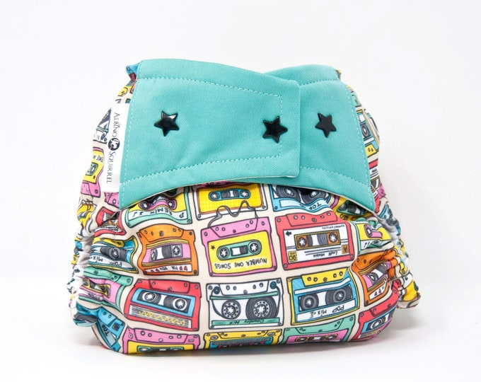 Music Cassette Tape Old School / Cloth Diaper Cover or Pocket Diaper (One Size)