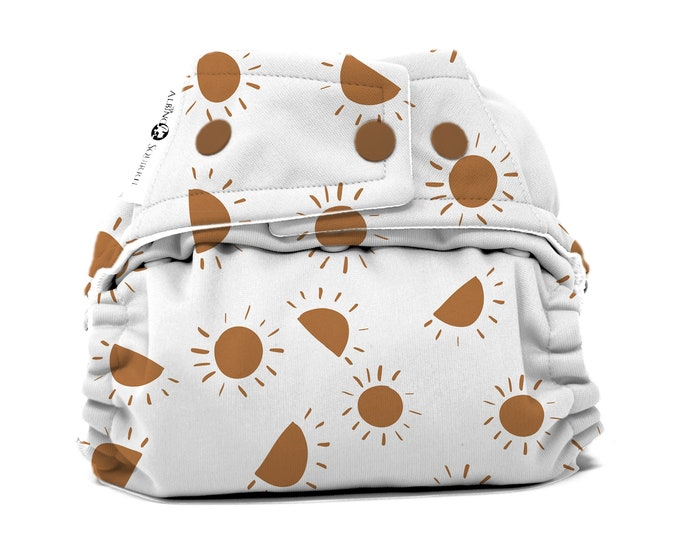 PRE-ORDER : Boho Suns Diaper Cover or Pocket Diaper (One Size) Baby Shower Gift