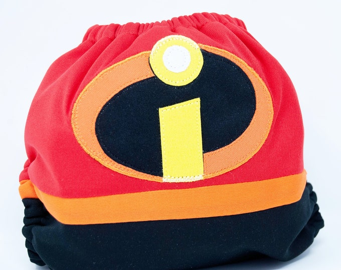 Incredibles / Superhero / Baby Cloth Diaper Cover or Pocket Diaper (One Size)