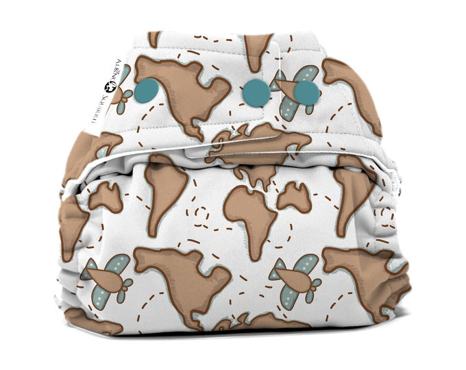 PRE-ORDER: World Map Cloth Diaper Cover or Pocket Diaper (One Size)
