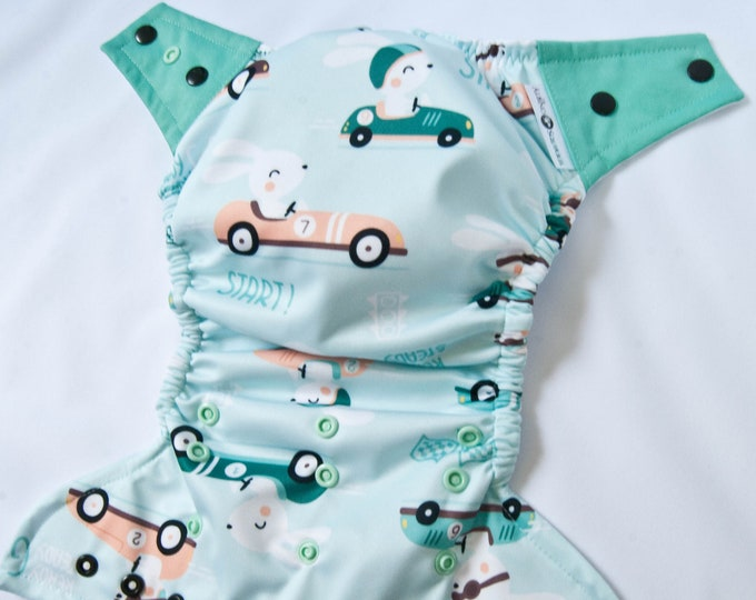 Cloth Diaper :Racing Race Car Bunnies Print Cover or Pocket Diaper (One Size) Baby Shower Gift, Baby Nursery