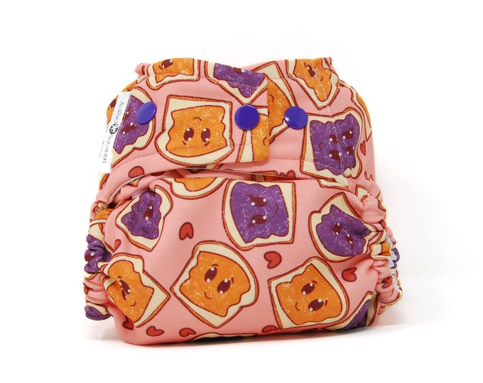 Peanut Butter & Jelly Diaper Cover or Pocket Diaper (One Size) Baby Shower Gift