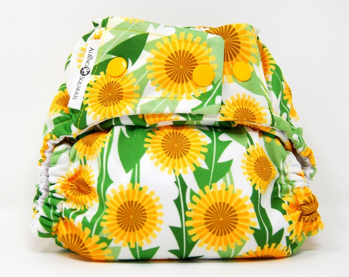 Dandelions Sunflowers Cloth Diaper Cover or Pocket Diaper (One Size)
