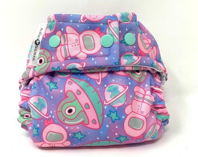 Space Aliens Diaper Cover or Pocket Diaper (One Size) Baby Shower Gift