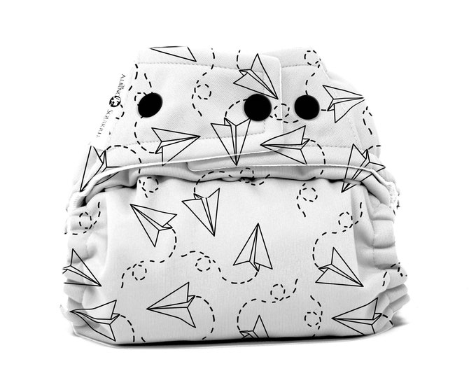 PRE-ORDER: Paper Airplanes Cloth Diaper Cover or Pocket Diaper (One Size)