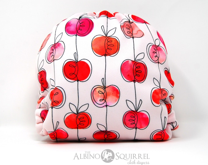 Apples Cloth Diaper Cover or Pocket Diaper (One Size)