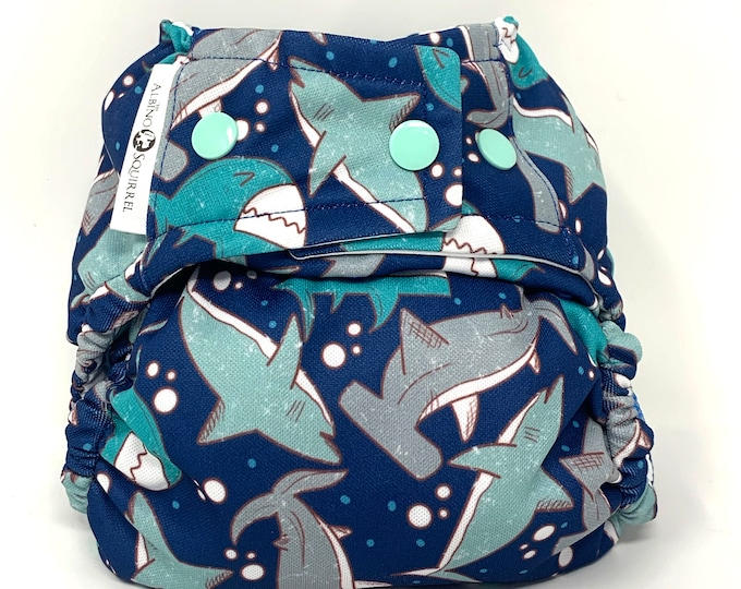 PRE-ORDER : Sharks Diaper Cover or Pocket Diaper (One Size) Baby Shower Gift
