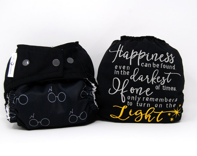Harry Potter cloth diaper - Happiness Quote - Cloth Diaper Cover or Pocket Diaper (One Size)