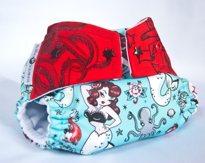 Cloth Diaper : Mermaids / Octopus Nautical Diaper Cover or Pocket Diaper (One Size) Baby Shower Gift