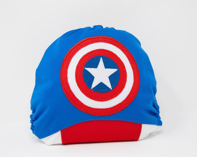 Captain America / Superhero / Baby Cloth Diaper Cover or Pocket Diaper (One Size)