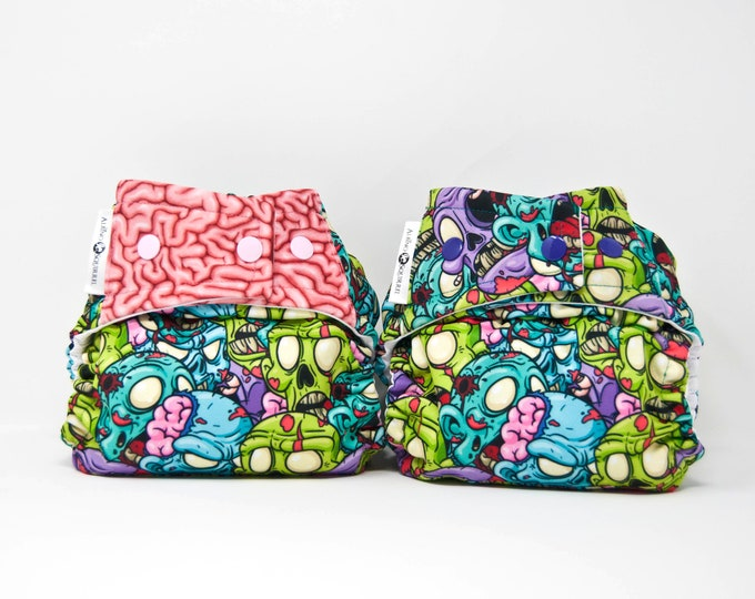 Zombie Brains Cloth Diaper Cover or Pocket Diaper (One Size)