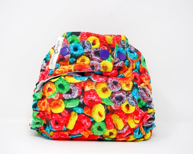 Fruity Loops Cereal Cloth Diaper Cover or Pocket Diaper (One Size)
