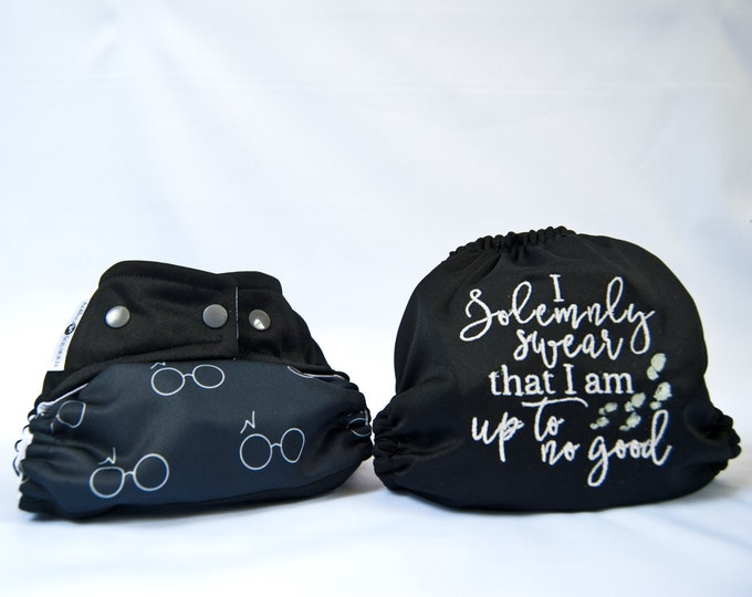 Harry Potter - I Solemnly Swear that I am up to No Good - Cloth Diaper Cover or Pocket Diaper (One Size)