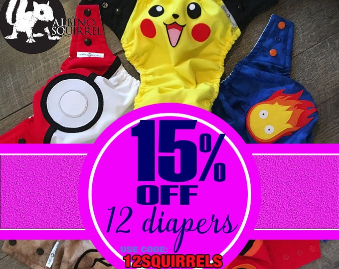 15% OFF COUPON Cloth Diapers - Purchase of 12 (twelve) / Diaper Covers or Pocket Diapers