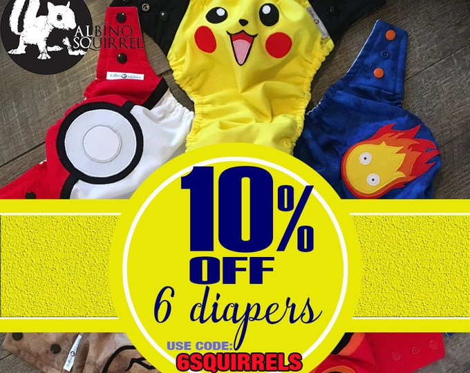 10% OFF COUPON Cloth Diapers - for Purchase of 6 (six) / Diaper Covers or Pocket Diapers