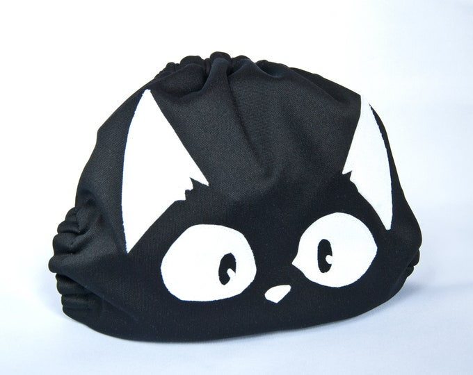 Little Black Kitty Cloth Diaper Cover or Pocket Diaper (One Size)
